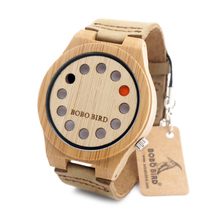 BOBO BIRD Unisex Wrist watch 12 Wholes Leather Band Men s Wooden Quartz Watch Made by