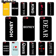 Babaite Couple dear honey, KING QUEEN Newly Arrived Black Cell Phone Case for iPhone 6S 6plus 7 7plus 8 8Plus X Xs MAX 5 5S XR
