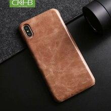CKHB матовый коровьей задняя крышка чехол для iphone Xs Max 7 8 плюс Натуральная кожа Винтаж чехол для iphone X XS чехол и сумка