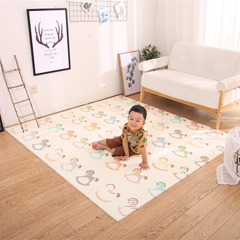 Infantile brillant pliable bébé tapis de jeu pliant ramper Pad XPE bébé chambre tapis enfants tapis de sol 200*150 cm tapis de jeu pour les nourrissons - 2