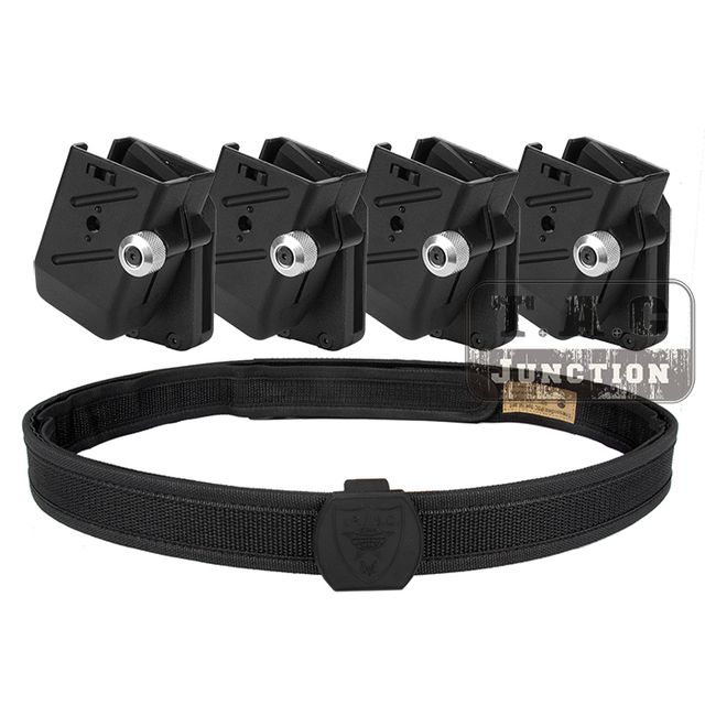 IPSC USPSA IDPA Competition High Speed Shooting Inner & Outer Belt w/ 4x Universal CR Speed Shooter's Pistol Magazine Pouch