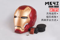 CATTOYS IRON MAN MK42 Helmet MAGNETIC RING CONTROL ELECTRIC OPEN LED EYE COOL IN BOX