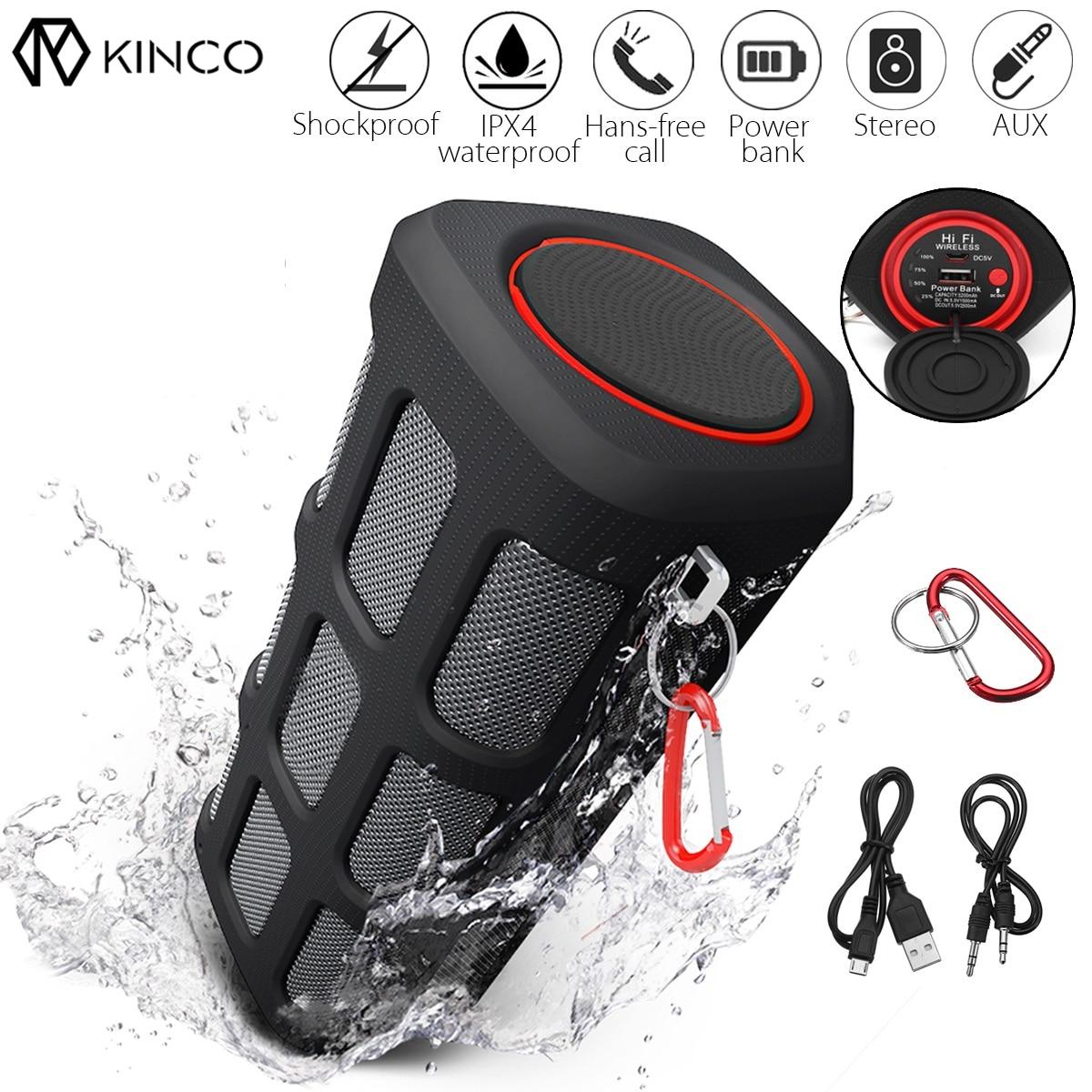 KINCO Sans Fil Bluetooth Haut-Parleur Étanche Portable Antichoc Antipoussière Sports de Plein Air 5200 mah 24-Heures de Lecture pour iPhone