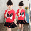 2016 female child skirt long-sleeve autumn sports fashionable casual children's clothing cotton set twinset