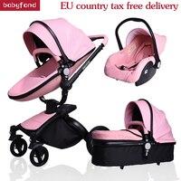 Бесплатная доставка! Babyfond AIQI 3 в 1 детская коляска кожи Двусторонняя амортизаторы детское автомобильное тележки Европа Детские коляски пода