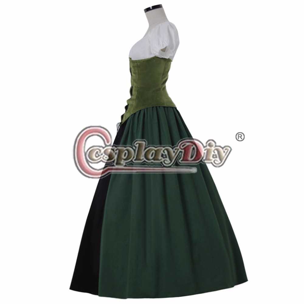 Women\'s Green Vintage Southern Dress Medieval Renaissance Ball Gowns ...