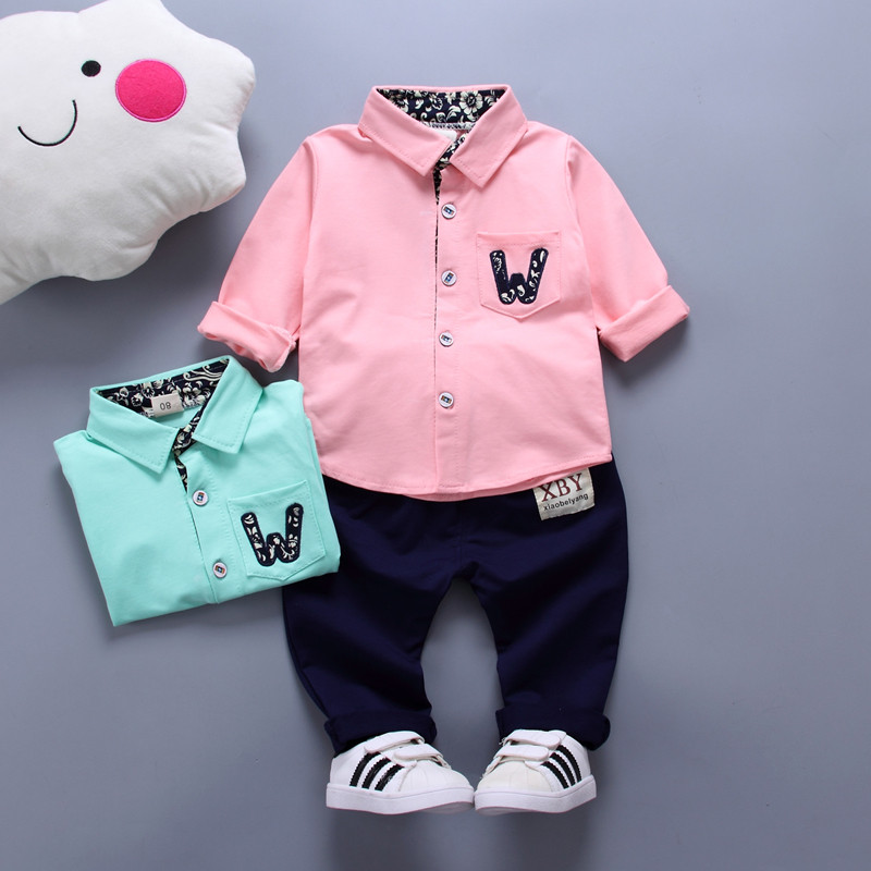 Long Sleeved T-shirts+Pants Two-piece Suit Kids Lapel Polo Shirt Suits Baby Boys Clothes ...