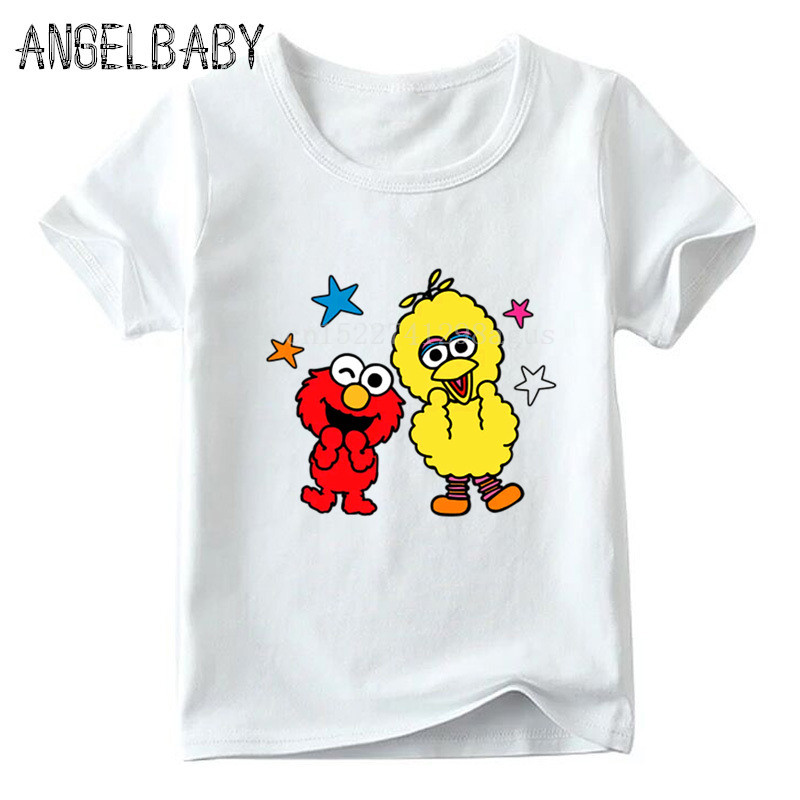 Boys/Girls The Sesame Street Cartoon Print T-shirt Children Summer Tops Kids Cookie Monster And Elmo Funny Baby T Shirt,ooo5255