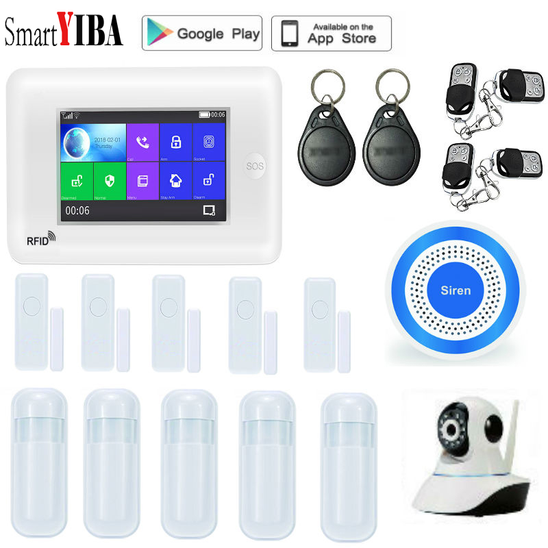 SmartYIBA Smart WIFI APP GSM Alarm System LCD Wireless Home Alarm System 2G SMS Home Security Signaling + IP Camera Amazon Alexa fuers 2018 update g90b plus 2g 2 4g wifi gsm sms wireless home security alarm system ios android app remote control