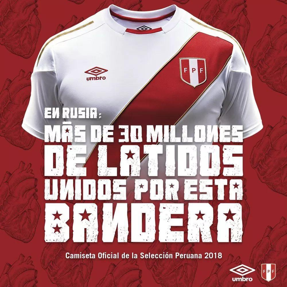 Umbro Peru Team Jersey 2018 Summer Sporty Short Sleeved Soccer Jerseys Jersey Football Training Football Match