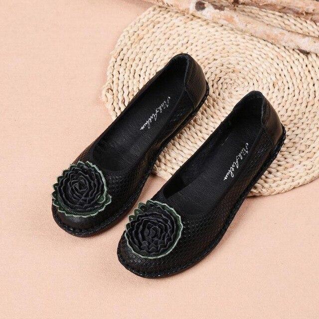 138b748e 2019 las nuevas mujeres de Ballet, zapatos hechos a mano cuero genuino  acogedor primavera conducción planos punta redonda flores