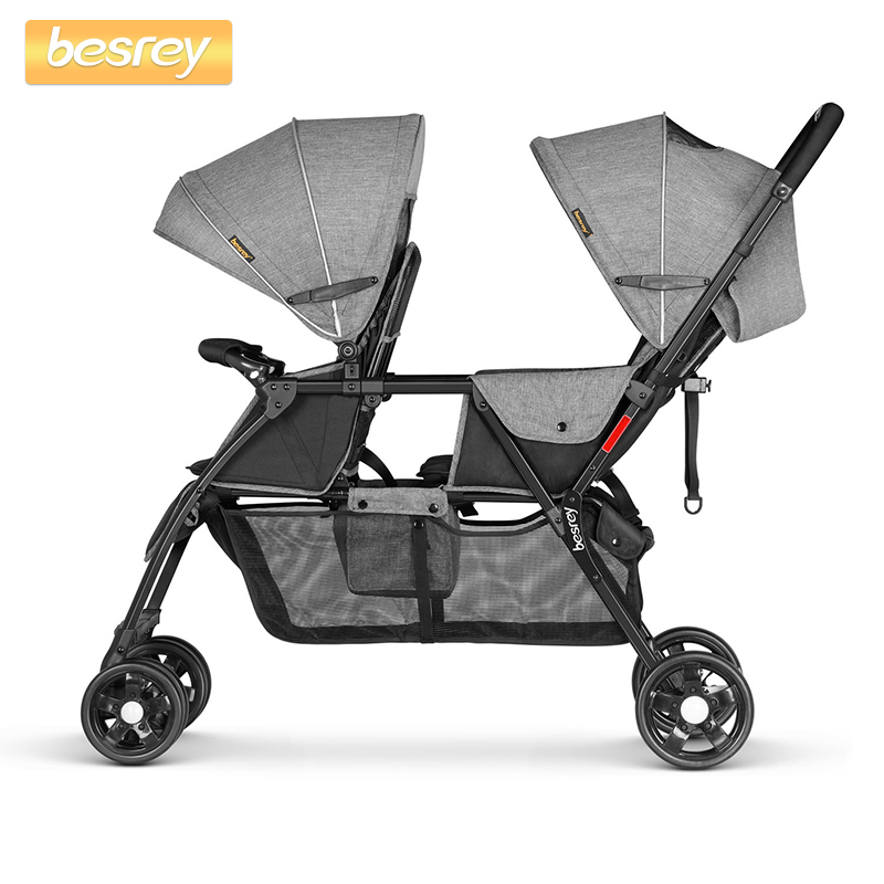 Besrey Double Baby Stroller for Twins Big Pushchair Newborn Baby Buggy Foldable Pram Infant Toddler Carriage Lying and sittingBesrey Double Baby Stroller for Twins Big Pushchair Newborn Baby Buggy Foldable Pram Infant Toddler Carriage Lying and sitting