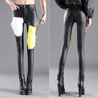 Autumn Winter Women S Fashion Rabbit Fur Stitching Slim Leather Pants Ladies Thin Cashmere Trousers All