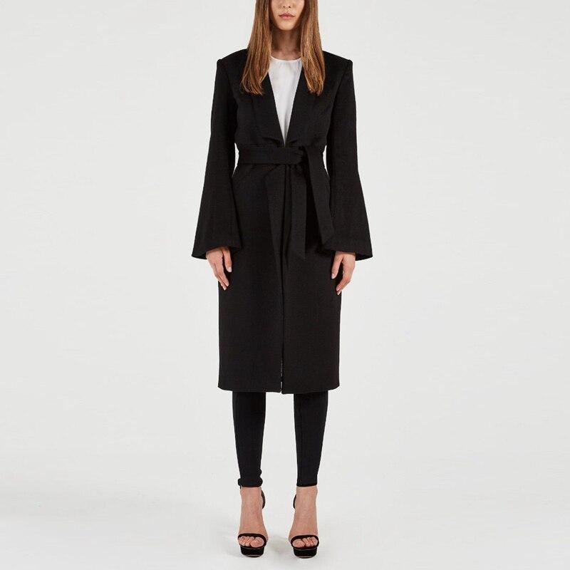 Longues Ceinture Mode Manches 2019 Manteaux Bqueen Coat Sexy Femmes De Avec V À Split Base Col Black Blazers Cape En Nouvelle UAxExvz
