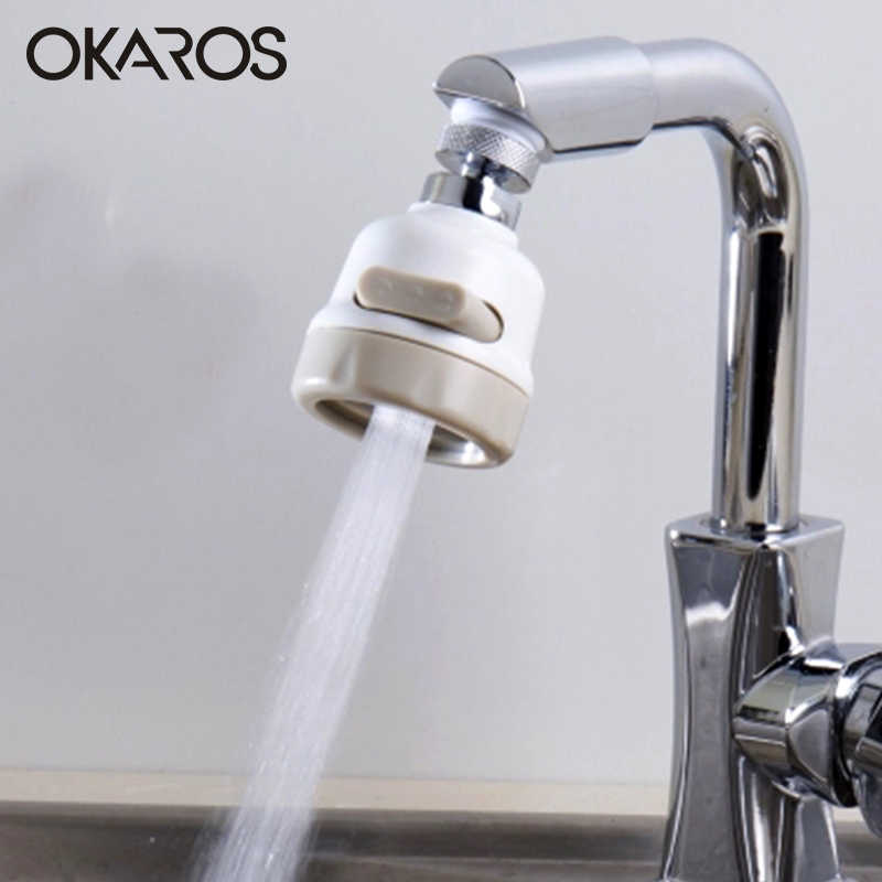Okraos 360 Derajat Dapur Penyemprot Air Bubbler Kepala Putar Air Penghematan Keran Faucet Aerator Konektor Nosel Diffuser Penyaring