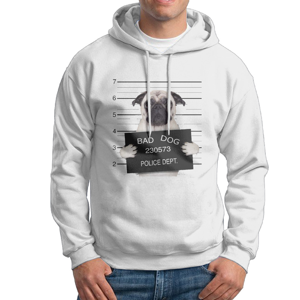 A-mugshot-of-a-bad-dog Design Cotton Round Neck Print White Long Men wholesale Sweater