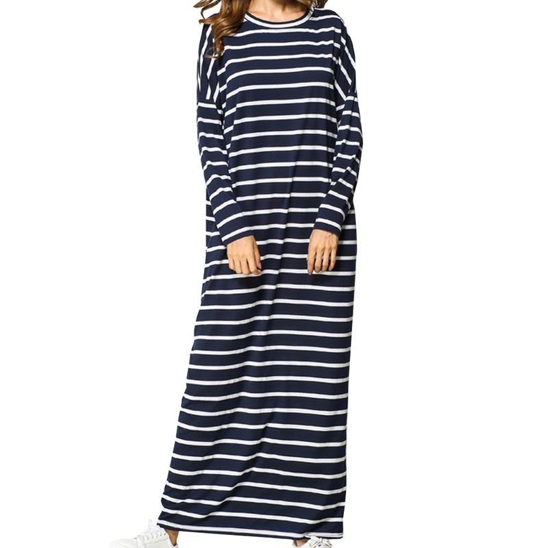 Casual Maxi Dress Stripe Middle East Abaya Shirt Loose Style Muslim Robe Moroccan Burka Kimono Kaftan Islamic Arab