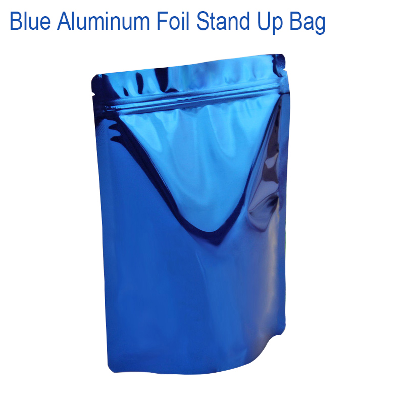 Blue Aluminum Foil Stand Up Airtight Zipper Pouches Smell Leak Proof Food Herb Coffee Protein Powder Storage Bags free shipping