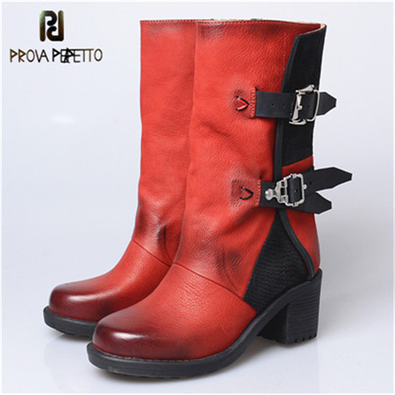 Prova Perfetto High Quality Euramerican Genuine Leather Do Old Retro Knight Boots Side Zipper Chunky High Heels Women Mid BootsProva Perfetto High Quality Euramerican Genuine Leather Do Old Retro Knight Boots Side Zipper Chunky High Heels Women Mid Boots