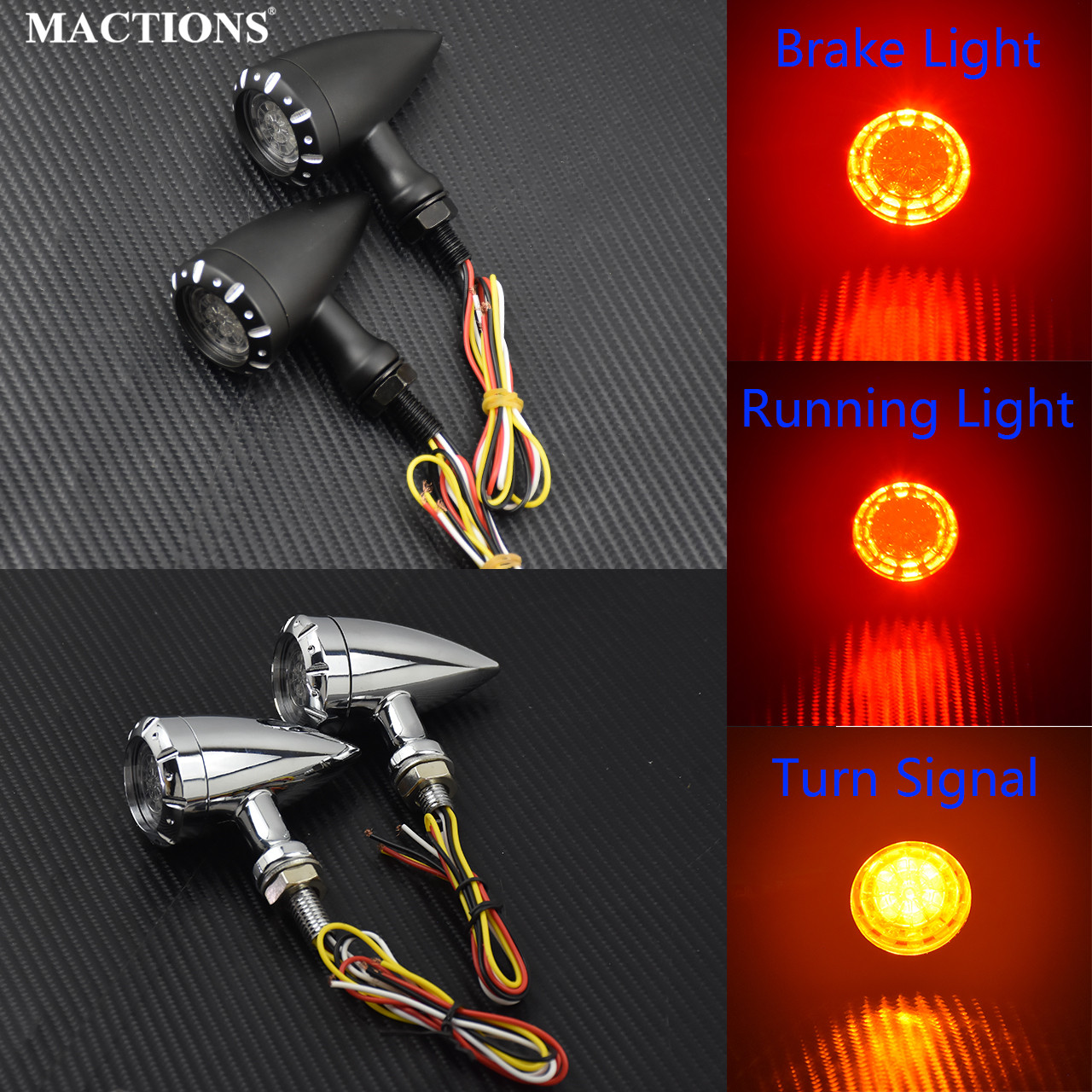 Motorcycle Black Chrome Retro Bullet LED Turn Signal Light Brake Lamp Running Blink Light For Harley Chopper Cruiser Bobber Cafe