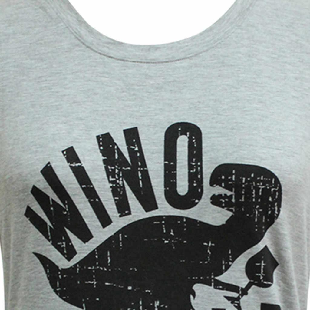Haut Femme blusas mujer de moda 2019 Для женщин блузка рубашка Winosaur динозавр Танк Для женщин Летняя модная свободная, с принтом в виде надписи жилет