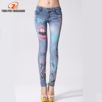 New Arrival Jeans Woman Casual Light Blue Pencil Jean Pants Girl Red Lip Printing Pattern Jeans