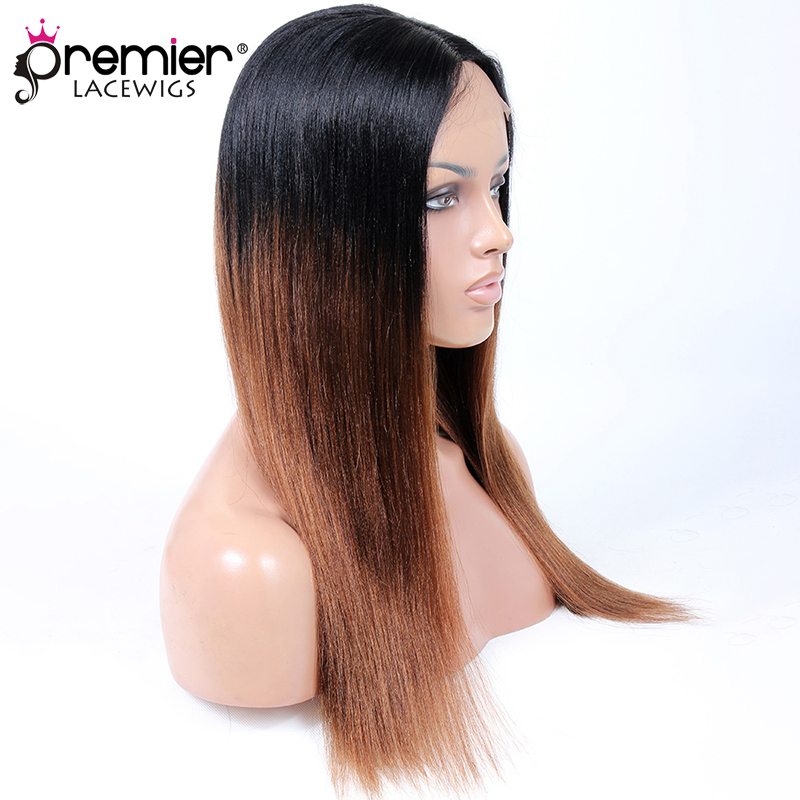 PREMIER LACE WIGS Indian Remy Hair Middle Part Long Style Ombre Brown Yaki Straight Affordable Glueless Lace Part Wig [LP15]