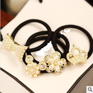 New 2014 Fashion Women Jewelry Simulated Pearl Hairbands Crown  Bow Hair Rope Headbands Hair Accessories  2pcs/lot  F061
