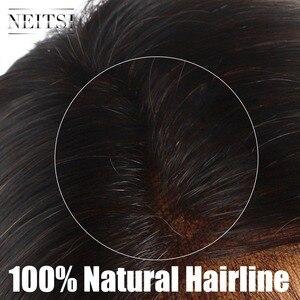 """Image 3 - Neitsi prosto koronki przodu włosów ludzkich peruk 100% Remy włosy 14 """"16"""" 18 """"20"""" 22 """"naturalny czarny kolor 150% gęstości naturalną linią włosów"""