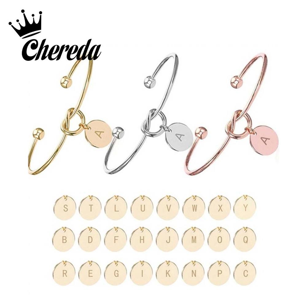 Chereda 26 English letters Bangle for Women Custom Personality Bracelets Friend Statement Jewelry Delicate Gift
