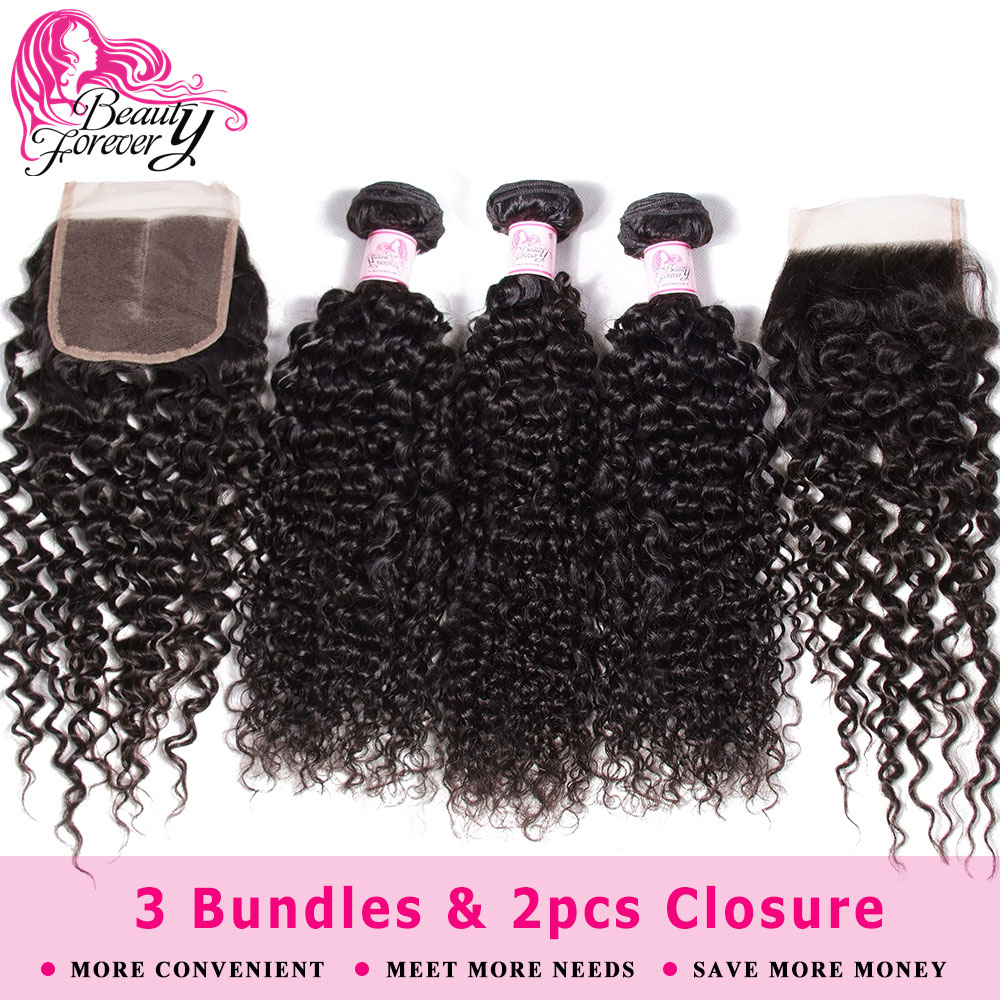Beauty Forever Curly Hair 3 Bundles With 2pcs Closures 4*4 Peruvian Remy Human Hair Bundles With Closure Natural Color