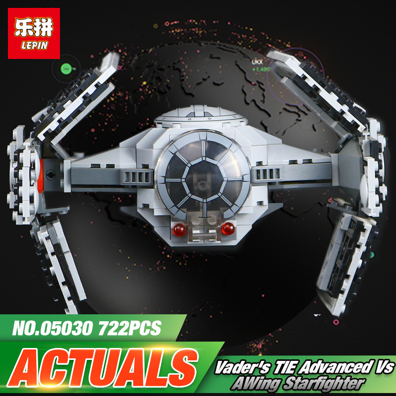 LEPIN 05030 722Pcs Space Star Series Wars Vader Tie Advanced VS A-Star wing fighter Building Blocks Space Toys LegoINGly 7515 dhl lepin 05055 star series military war the rogue one usc vader tie advanced fighter compatible 10175 building bricks block toy