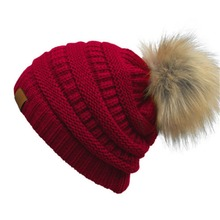 fashion fox fur ball cap pom poms winter hat for women girl 's hats knitted beanies cap thick female caps wool casual Skullies