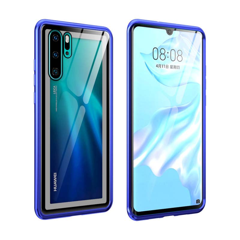 Luxury Metal Armor Case Arc Aluminum Frame Screw Bumpe Transparent Glass Cover Coque For Huawei P30 P30Pro P30lite Phone KS0184 in Half wrapped Cases from Cellphones Telecommunications