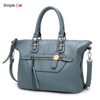 Female Satchel Shoulder Crossbody Bag PU Leather Large Capacity Top Hand Tote Handbags Women Fashion Messenger Handbag
