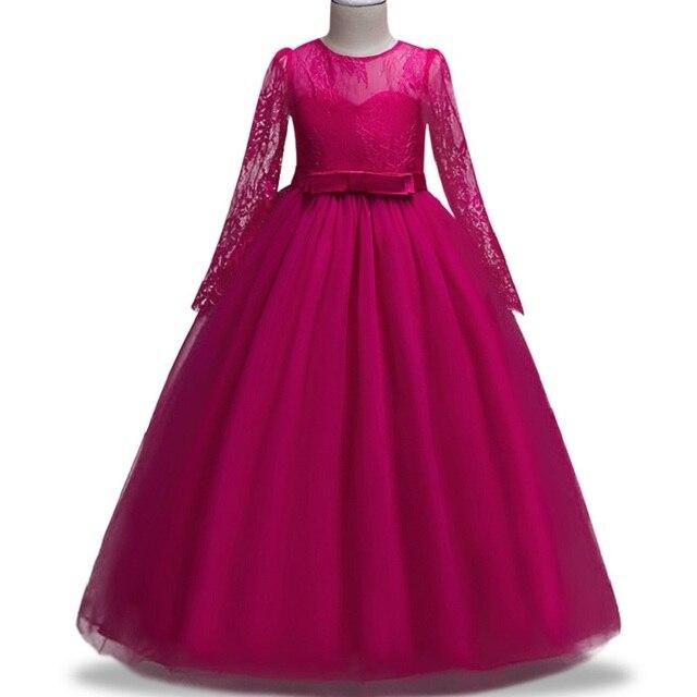 4-14 Haute-Fin D'été Enfants Robes de Fille manches longues en dentelle robe Arc Élégant Piano performance Princesse robe