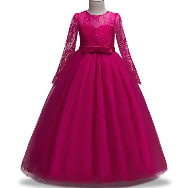 4-14 haut de gamme été enfants robes fille à manches longues robe en dentelle élégant arc Piano performance robe de princesse