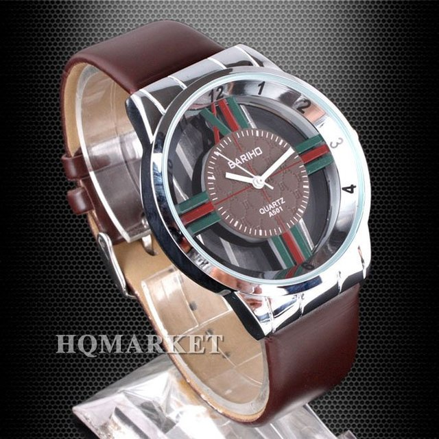 Lots BUY Coffee Band Quartz Lady Wristwatch Skeleton Case Green and Red Lines Cross Shape Dial N0375