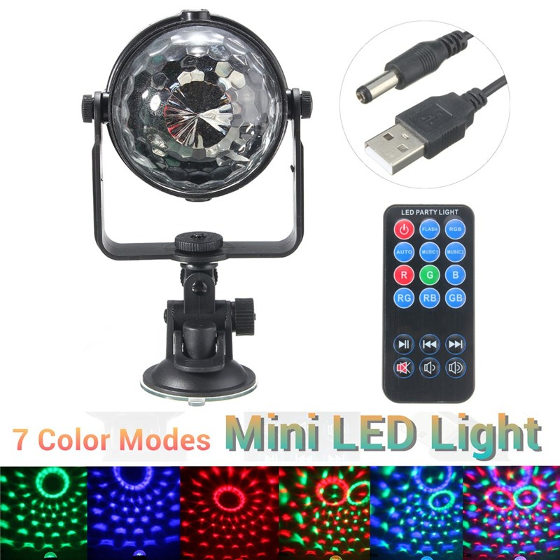 Mini RGB LED Stage Light 3W Remote Controls Light Disco Ball Lights LED Party Lamp Show Stage Lighting Effect USB Powered DV 5V transctego laser disco light stage led lumiere 48 in 1 rgb projector dj party sound lights mini laser lamp strobe bar lamps