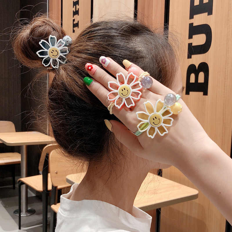 Inspanya Wind Sunflower Smiling Face Hair Ring Headline Girl Hair Decoration head band