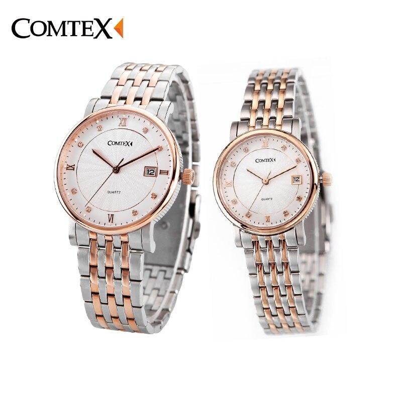 COMTEX Stainless Steel Couple Watches Men Women Watches Brand Luxury Lovers' Complete Calendar Watches Couple Quartz Wristwatch