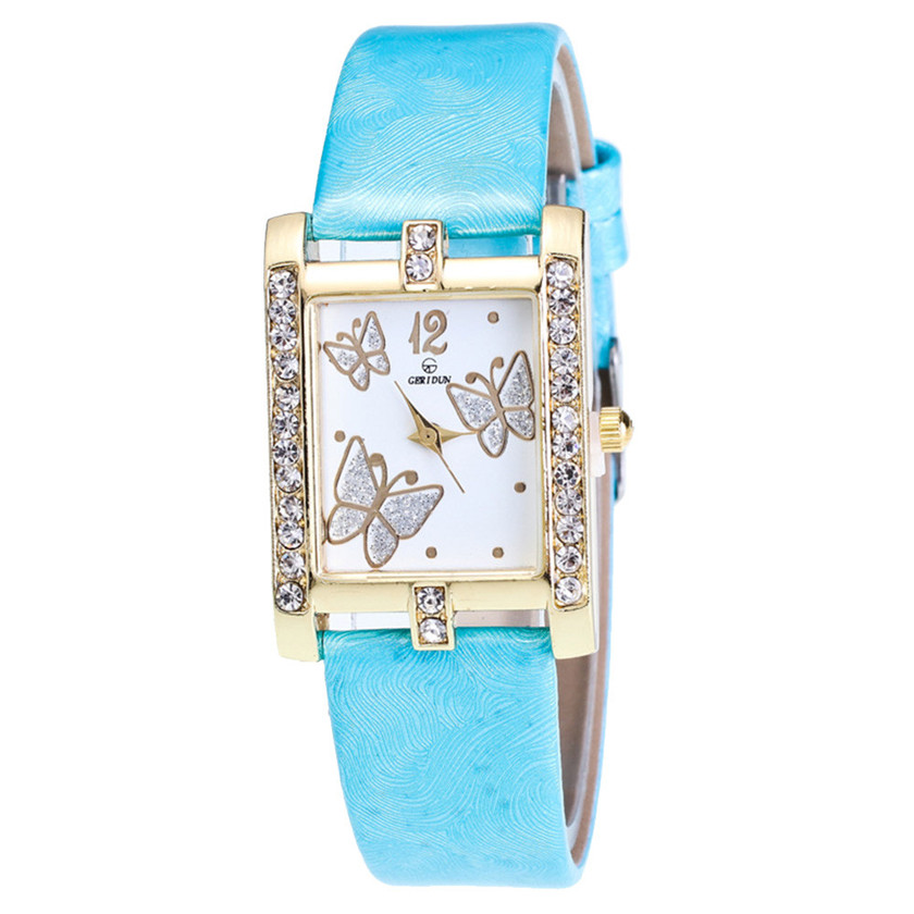 11.11 2017 NEW Relogio feminino Retro 10 Candy Colors Butterfly pattern Design Leather Band Analog Quartz Square Wrist Watch 2017 new new retro design leather band analog alloy quartz wrist watch relogio feminino ladies watch 08