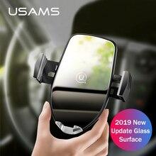 Carregador sem fio luxuoso do telefone do carro de qi, suporte do respiradouro de ar de usams 10 w suporte de carregamento rápido do telefone para o iphone x xs xr samsung s10 carregador