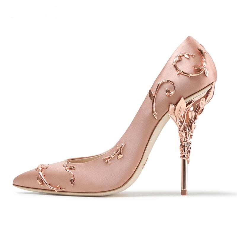 New Satin Metal Leaves Embellished Pumps Women Pointed Toe Thin High Heel Party Dress Stiletto Wedding Party Runway Shoes M084 high quality suede wedding party dress shoes women pointed toe stiletto brand pumps bow fringe embellished high brands