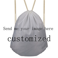 FORUDESIGNS Custom You Image Logo Drawstring Bag Women Travel Drawstring Backpack Kids School Drawstring Bags Kids Backpack forudesigns denim pocket cat cute women travel backpack small sport beach drawstring bag for men beach storage bags kids bookbag
