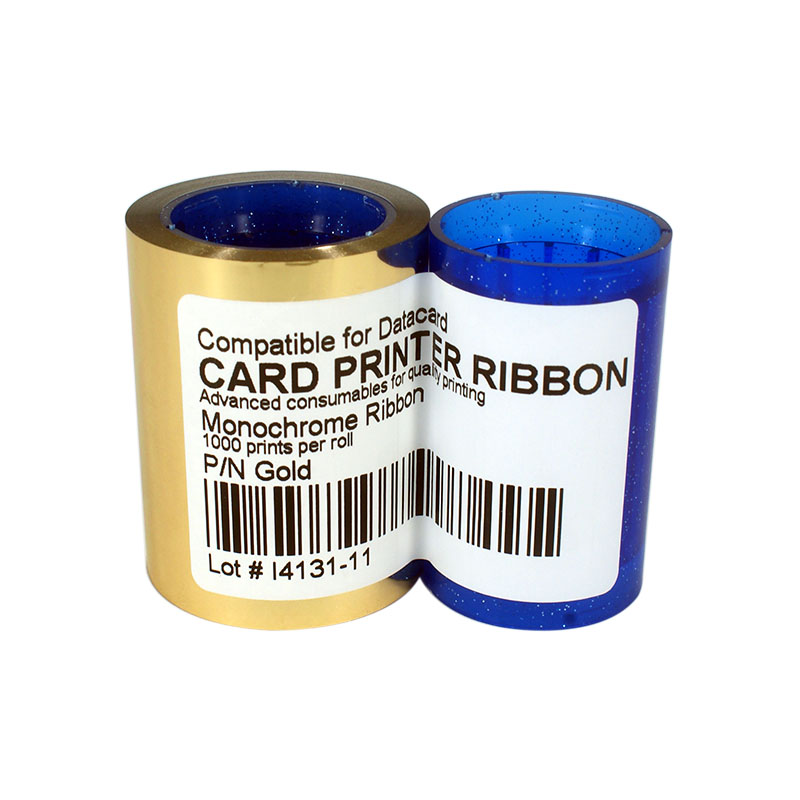 Printer Ribbon DC285GL Gold Color Ribbon 1000prints/roll For Datacard SP25 SP30 SP35 SP55 SP75 CP40 CP60 CP80 original printer ribbon 800012 445 625 prints roll ymck ribbon for zebra 800012 445 for zxp series 8 zxp8 card printer