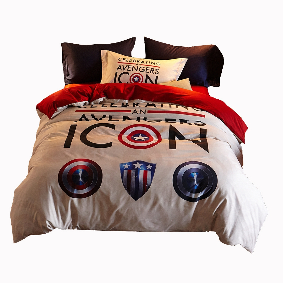 Avengers bedding set twin - Iron Man Heroes Captain America S Shield Bedding Set Queen 100 Cotton Bed Sheet Pillow Covers Duvet Cover Twin Soft Bed Linen