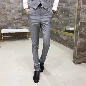 2019 New Mens Fashion Boutique Solid Color Formal Business Slim Suit Pants  Men Wedding Ceremony Groom Suit Pants Male Trousers