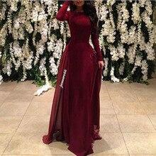 Meerjungfrau Velvet Burgund Langarm Prom Kleider 2016 Kaftan Abendkleid