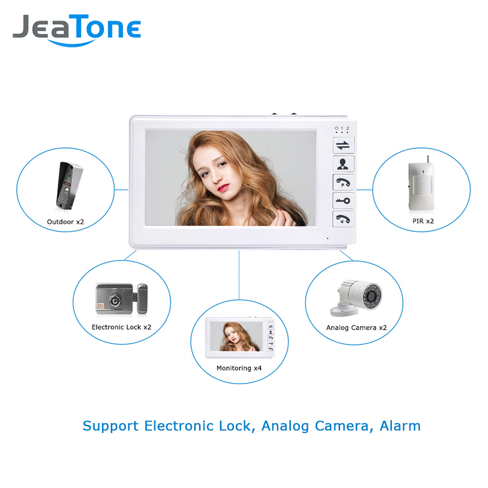 Купить с кэшбэком JeaTone 7inch Video Door Phone Video Intercom Doorbell 1000TVL IP65 Rainproof OSD Menu Security Home Access System Cheap Price